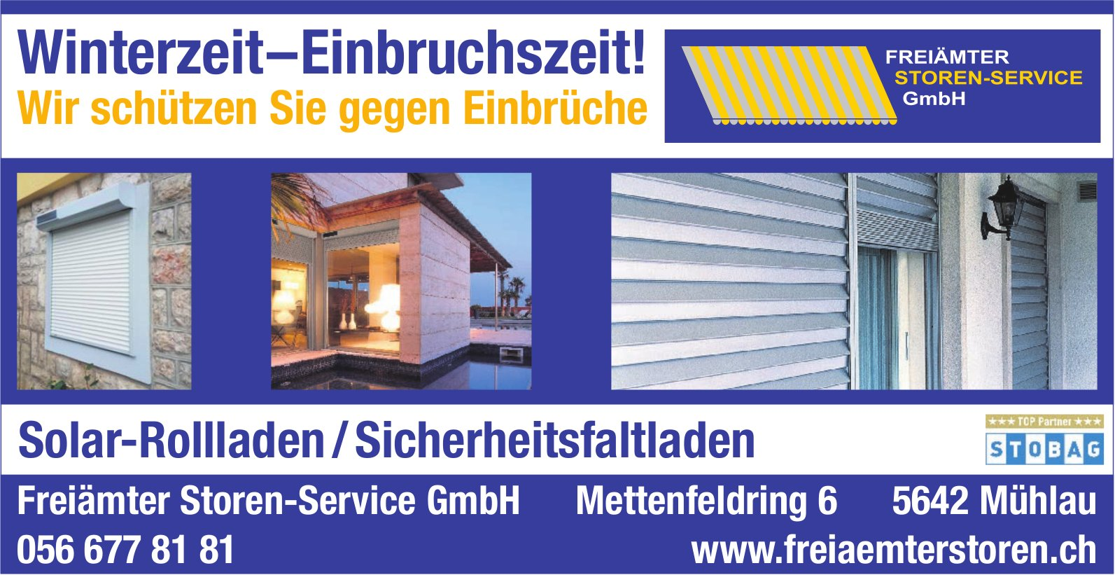 Freiämter Storm-Service GmbH - Winterzeit – Einbruchszeit! Wir schützen Sie gegen Einbrüche