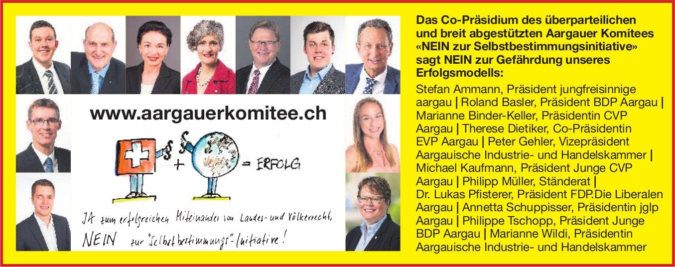 Aargauer Komitee: sagt NEIN zur Gefährdung unseres Erfolgsmodells