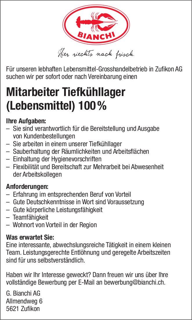 Mitarbeiter Tiefkühllager (Lebensmittel) 100% bei G. Bianchi AG gesucht