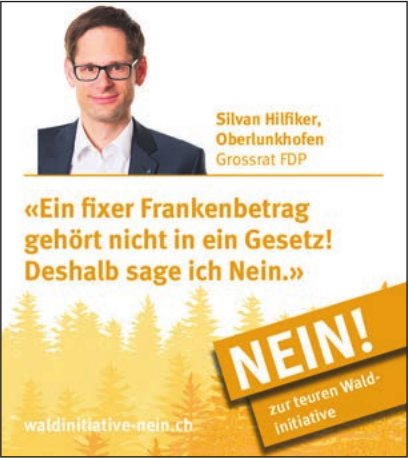 Nein zur teuren Wald-Initiative, Silvan Hilfiker