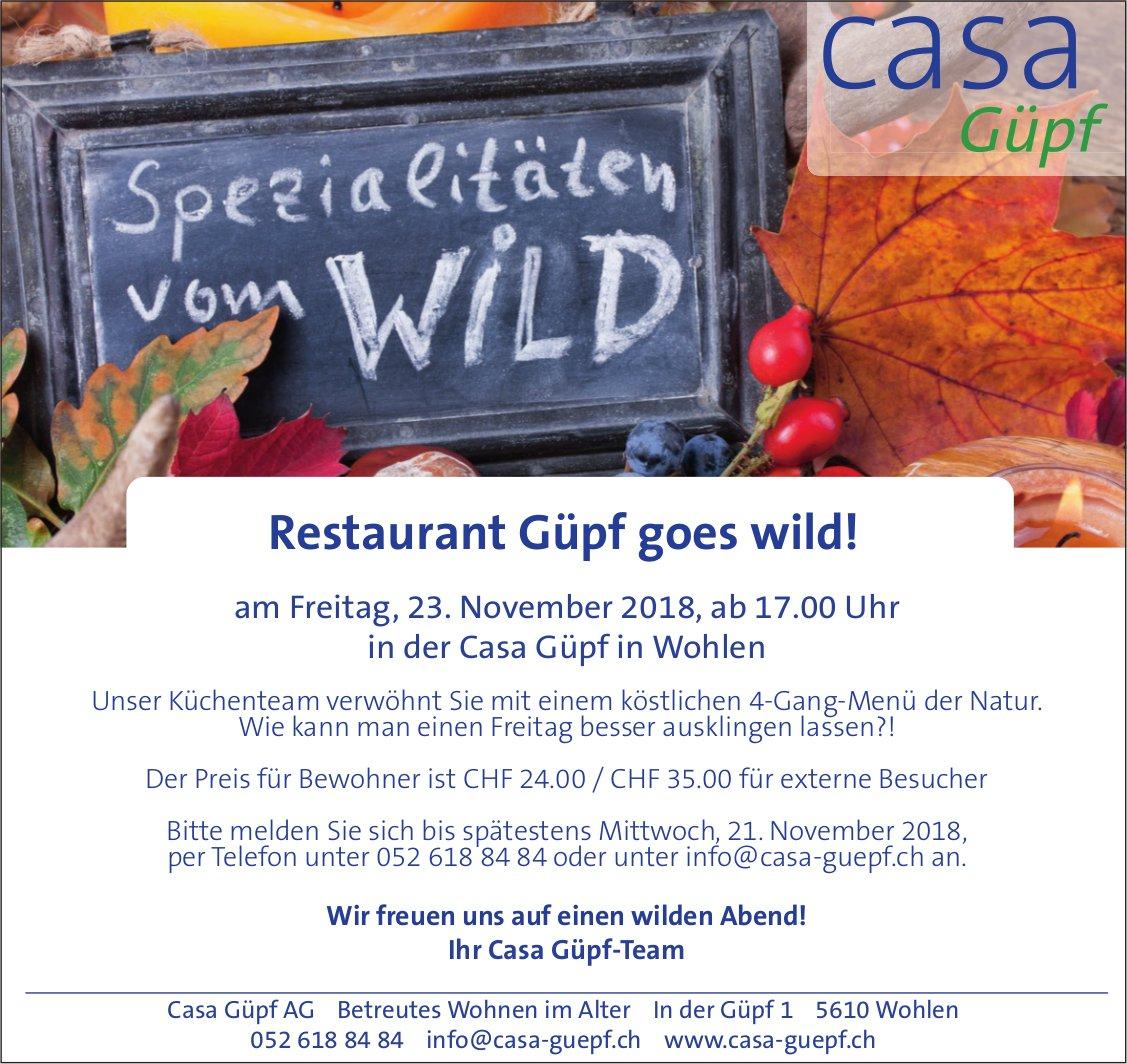 Spezialitäten vom Wild, 23. Nov., Restaurant Güpf