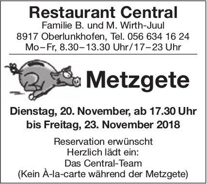 Metzgete, 20./23. Nov., Restaurant Central