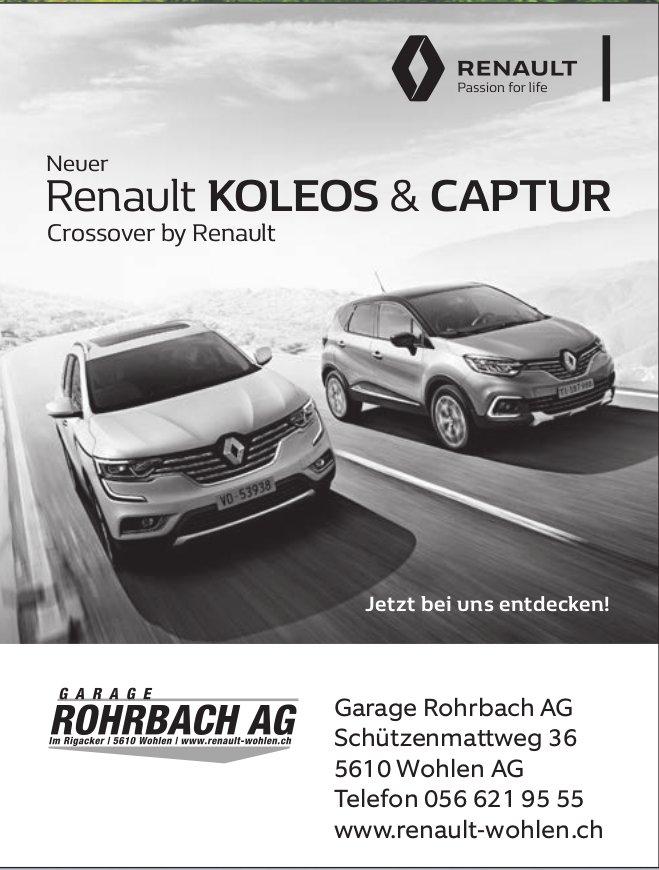 Neuer Renault KOLEOS & CAPTUR, Garage Rohrbach AG