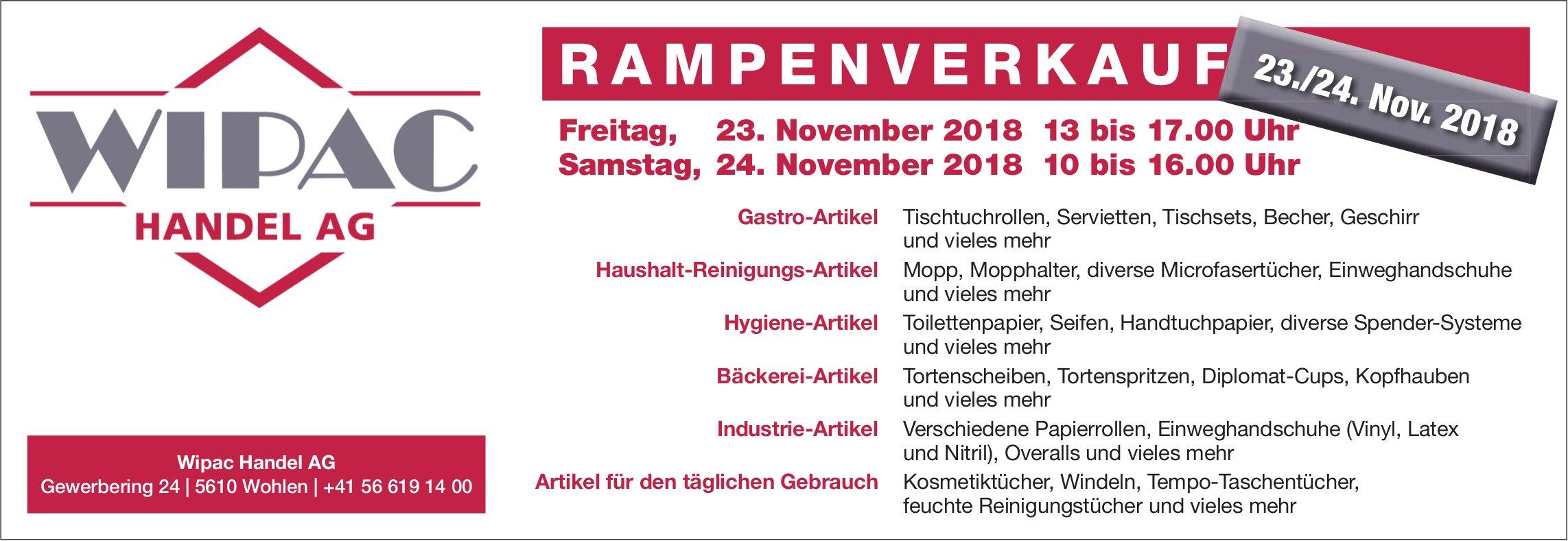 Rampenverkauf, 23./24. Nov., Wipac Handel AG