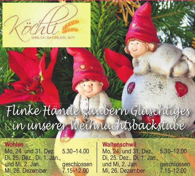 Flinke Hände zaubern Gluschtiges in unserer Weihnachtsbackstube, Köchli