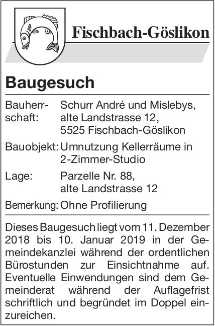 Fischbach-Göslikon: Baugesuch
