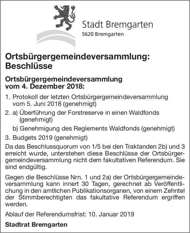 Ortsbürgergemeindeversammlung Stadt Bremgarten, 4. Dez., Beschlüsse