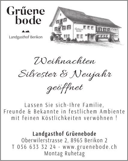 Weihnachten, Silvester & Neujahr geöffnet - Landgasthof Grüenebode