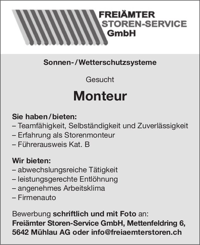 Monteur bei Freiämter Storen-Service GmbH