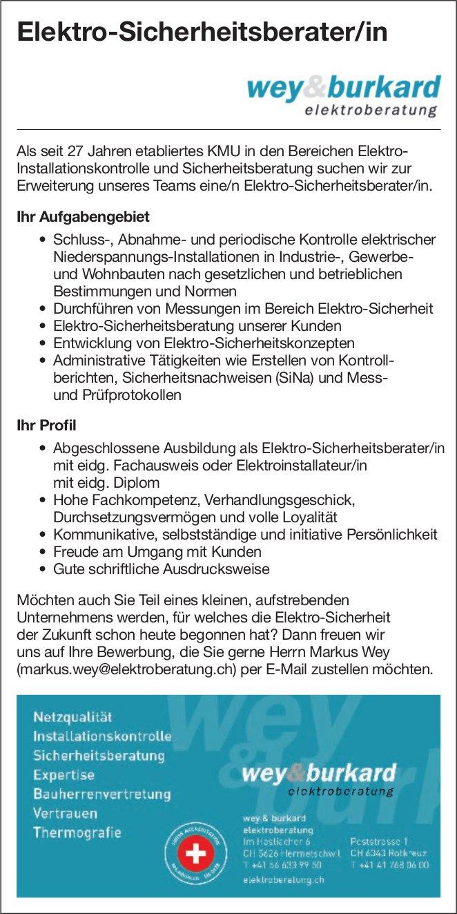 Elektro-Sicherheitsberater/in bei Wey & Bukard Elektroberatung