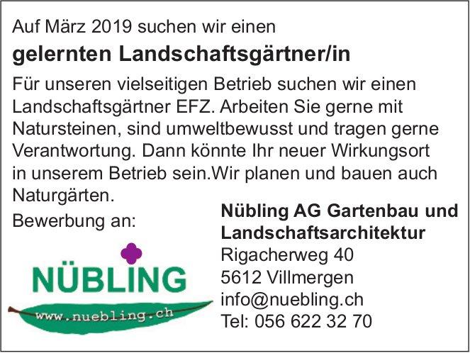 Gelernten Landschaftsgärtner/in bei Nübling AG Gartenbau und Landschaftsarchitektur