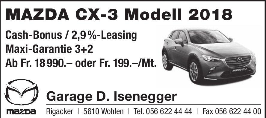 Garage D. Isenegger in Wohlen - Mazda CX-3 Modell 2018