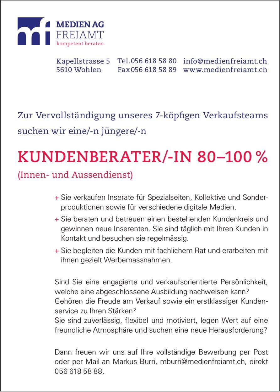 Kundenberater/-in bei Medien AG Freiamt in Wohlen gesucht