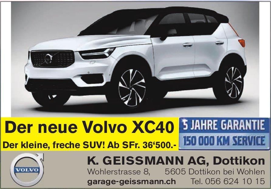 K. Geissmann AG in Dottikon - Der neue Volvo XC40 im Angebot