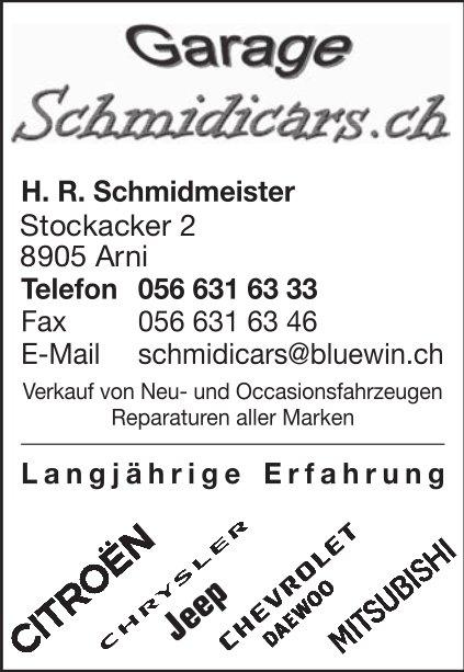 Garage Schmidmeister in Arni - Verkauf von Neu- und Occasionsfahrzeugen