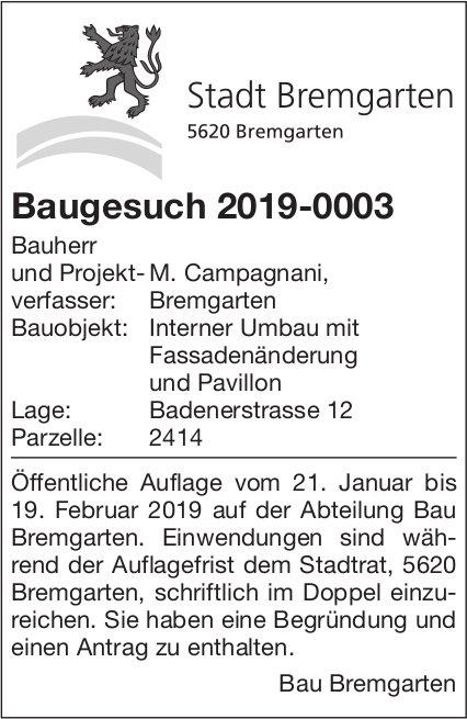 Stadt Bremgarten - Baugesuch 2019-0003