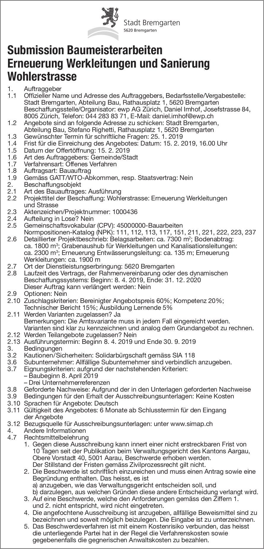 Bremgarten - Submission Baumeisterarbeiten Erneuerung Werkleitungen und Sanierung Wohlerstrasse