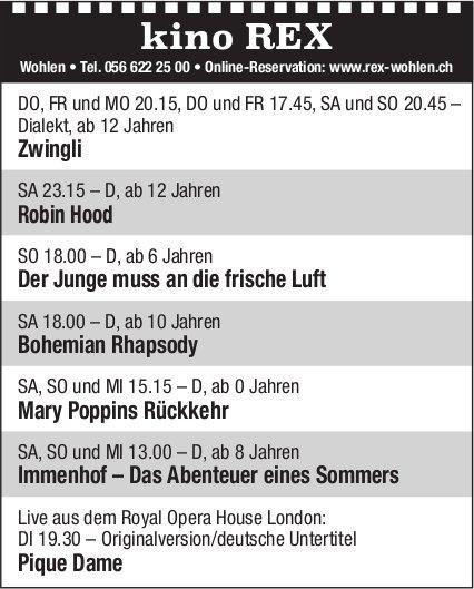 Kino Rex Wohlen - Programm