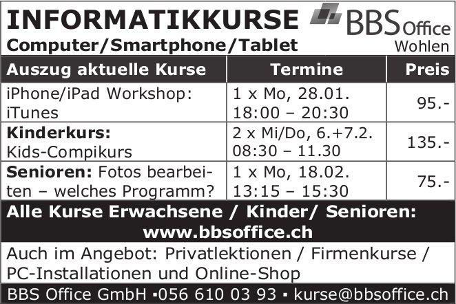 BBS Office GmbH - INFORMATIKKURSE Computer/Smartphone/Tablet