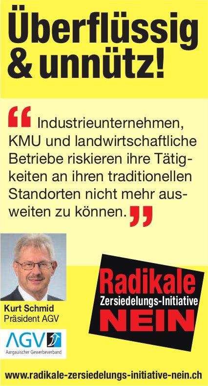 Kurt Schmid, Präsident AGV - Radikale Zersiedlungs-Initiative: Nein