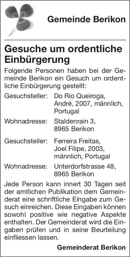 Gemeinde Berikon - Gesuche um ordentliche Einbürgerung