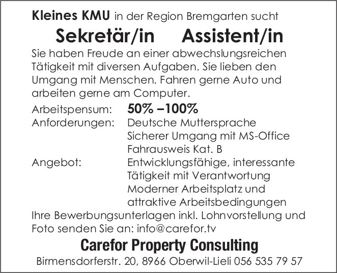 Sekretär/in Assistent/in 50% -100% bei Carefor Property Consulting gesucht