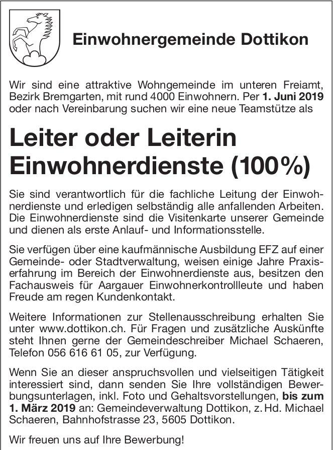 Einwohnergemeinde Dottikon - Leiter/Leiterin Einwohnerdienste gesucht