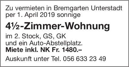 4½-Zimmer-Wohnung in Bremgarten Unterstadt zu vermieten