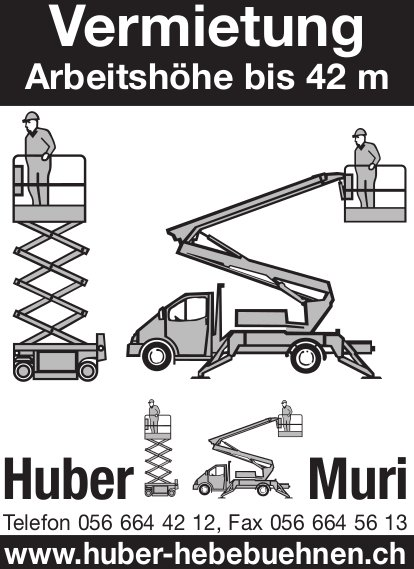 Huber Hebebühnen in Muri - Vermietung Arbeitshöhe bis 42m