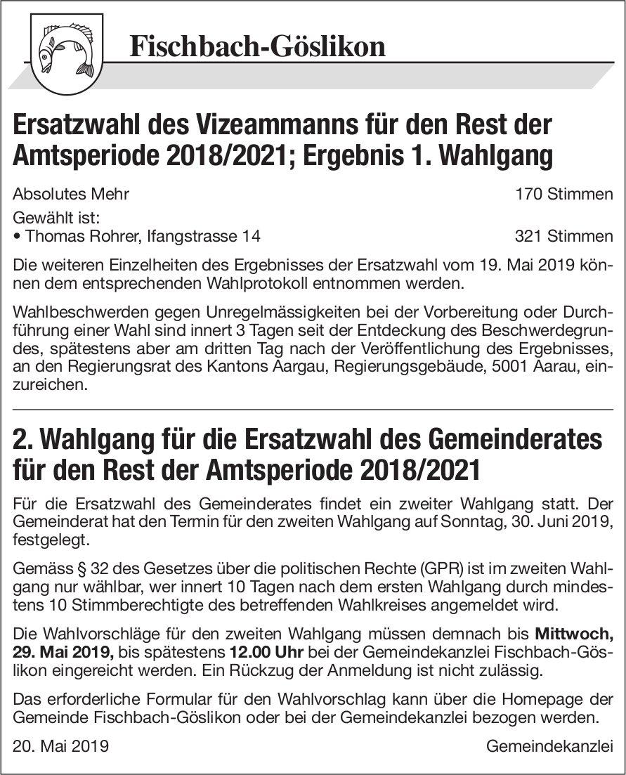 Gemeinde Fischbach-Göslikon - 2. Wahlgang für Ersatzwahl Gemeinderat