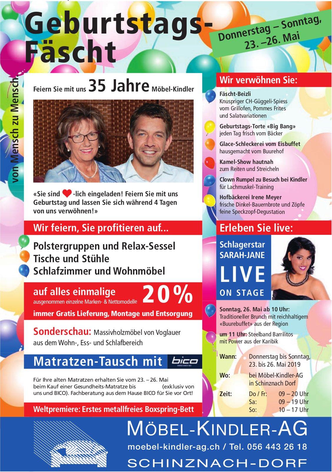 Möbel Kindler AG in Schinznach-Dorf - Geburtstagsfest vom 23. bis 26. Mai