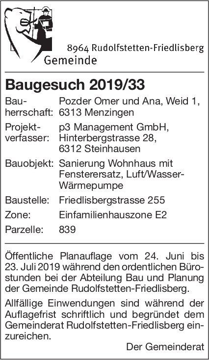 Rudolfstetten-Friedlisberg - Baugesuch 2019/33