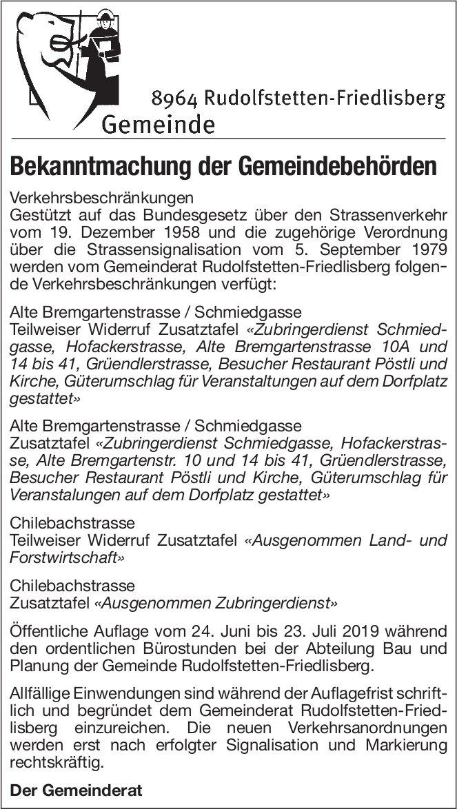 Rudolfstetten-Friedlisberg - Bekanntmachung der Gemeindebehörden