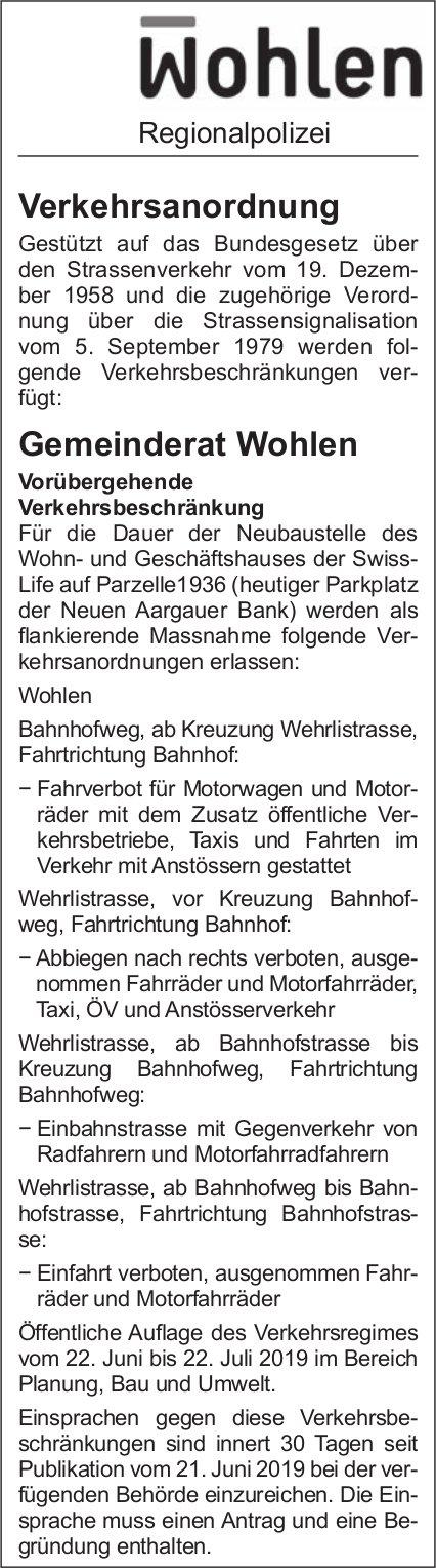 Wohlen Regionalpolizei - Verkehrsanordnung