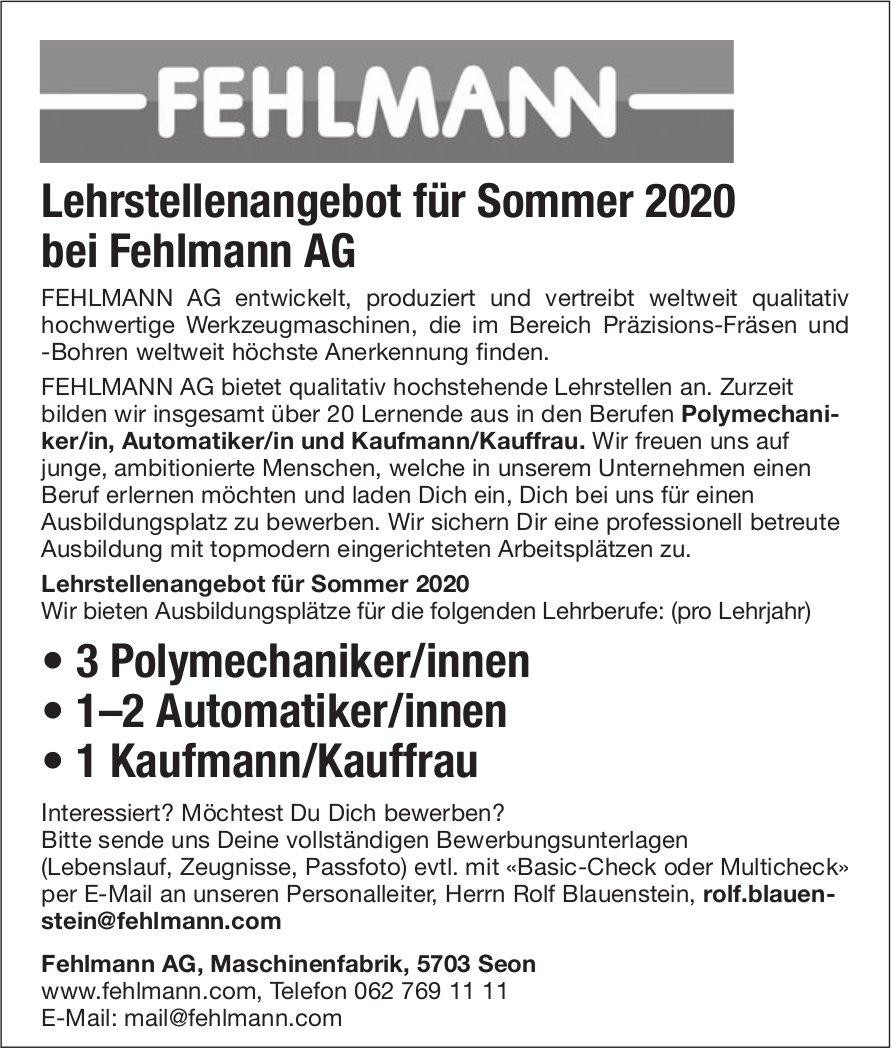 Lehrstellenangebot für Sommer 2020 bei Fehlmann AG