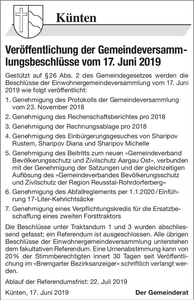 Künten - Veröffentlichung der Gemeindeversammlungsbeschlüsse vom 17. Juni 2019