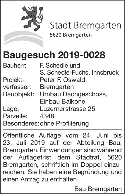 Bremgarten - Baugesuch 2019-0028