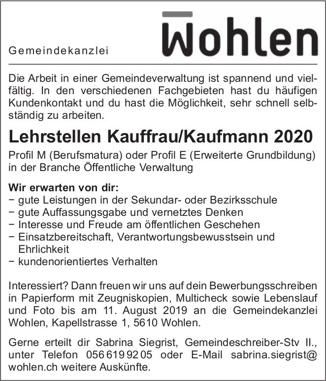 Lehrstellen Kauffrau/Kaufmann