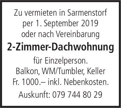 2-Zimmer-Dachwohnung in Sarmenstorf zu verkaufen