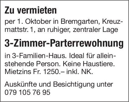 3-Zimmer-Parterrewohnung zu vermieten in Bremgarten
