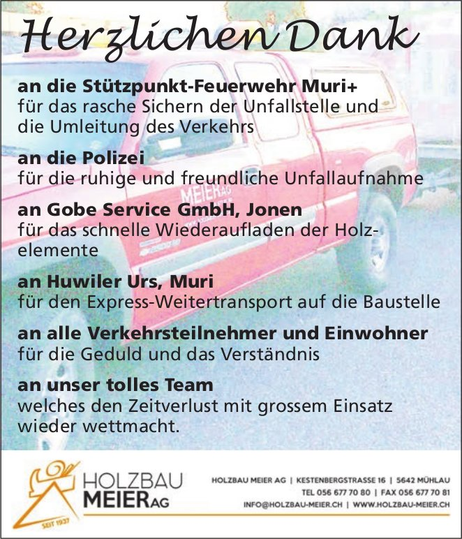 Holzbau Meier AG: Herzlichen Dank