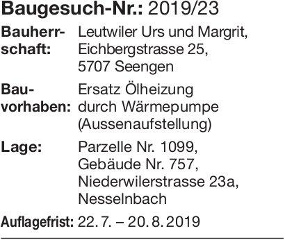 Niederwil:  Baugesuch Nr. 2019/23