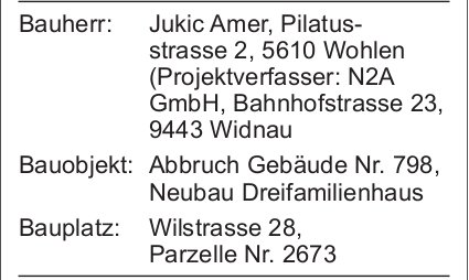 Wohlen: Baugesuch Parzelle Nr. 2673