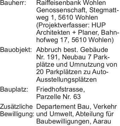 Wohlen:  Baugesuch Parzelle Nr. 63