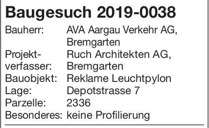 Bremgarten: Baugesuch 2019-0038