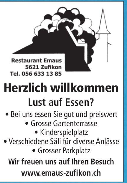 Lust auf Essen? Restaurant Emaus