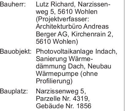 Wohlen: Baugesuch Parzelle Nr. 4319