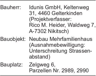 Wohlen:  Baugesuch Parzellen Nr. 2989, 2990