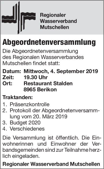 Regionaler Wasserverband Mutschellen - Abgeordnetenversammlung am 4. September