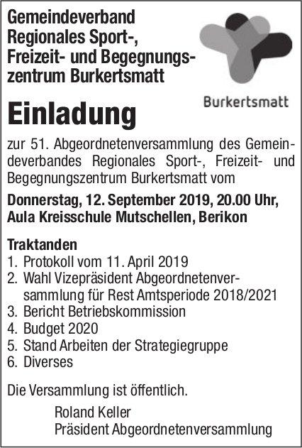 Gemeindeverband Regionales Sportzentrum Burkertsmatt - Versammlung am 12. September